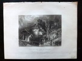 After George Balmer 1834 Antique Print. Mill on the Lake of Lungern, Switzerland